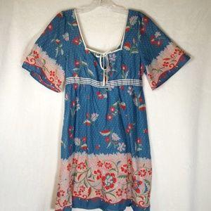 Anthro (Lilka) blue print kimono sleeve dress
